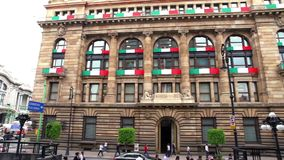 View of the Central Bank of Mexico building. It`s objective is to ensure the stability and power of the currency. MEXICO CITY, MEX. 26/09/18 PAN LEFT. View of stock video footage