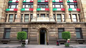 View of the Central Bank of Mexico building. It`s objective is to ensure the stability of the purchasing power of the currency stock video footage