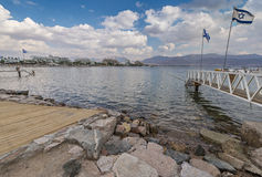 View on the central beach of Eilat Stock Images