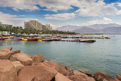 View on the central beach of Eilat, Israel Stock Images