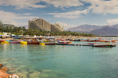 View on the central beach of Eilat, Israel Royalty Free Stock Image