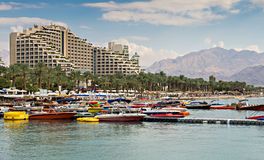 View on the central beach of Eilat, Israel Royalty Free Stock Photos