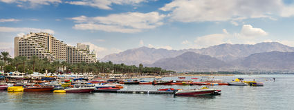 View on the central beach of Eilat, Israel Royalty Free Stock Photo