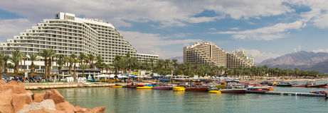 View on the central beach of Eilat, Israel Royalty Free Stock Images