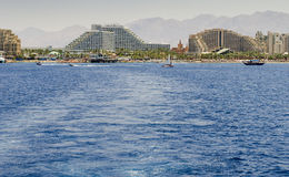View on the central beach of Eilat, Israel Stock Photo