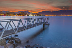 View from central beach of Eilat on the Red Sea Stock Image
