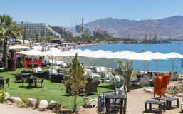 View on central beach and resort hotels in Eilat, Israel Stock Images