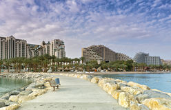 View on central beach and resort hotels in Eilat, Israel Stock Photography