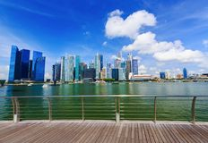 Central business district building of Singapore city with blue s Royalty Free Stock Photography