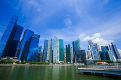 Central business district building of Singapore city with blue s. View of central business district building of Singapore city with blue sky Royalty Free Stock Photography