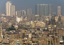 View of central Cairo. New skyscrapers and old houses in central Cairo, Egypt royalty free stock photo