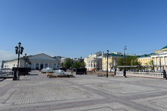 View of the Central exhibition hall 'Manezh' Manezhnaya square. Stock Image