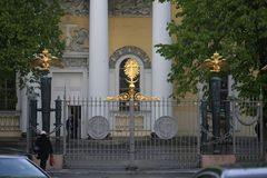 View of the central gates of the Transfiguration Cathedral on a cloudy day royalty free stock images