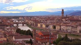 View on the central historical part of Florence in the september twilight. Italy. View on the central historical part of Florence in the september twilight stock footage