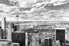 View of Central Park in Manhattan from the skyscraper`s observat royalty free stock images