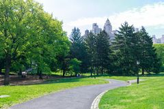 View of Central Park in New York City in spring. New york, United States - May 12, 2018 : View of Central Park in New York City in spring Stock Photo