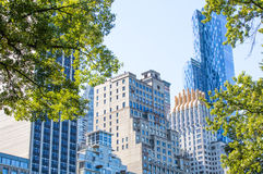 View from the Central Park of New York to skyscrappers Royalty Free Stock Images