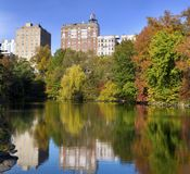 View from Central Park, NewYork. View from Central Park, New York, Lake in front, beautiful trees and Manhattan high rises in the back Royalty Free Stock Image