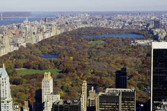 View of central park from the roof of the rockefeller building royalty free stock photo