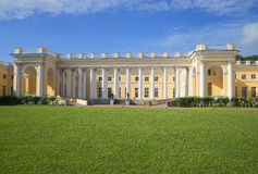 View of the central part of the Alexander Palace sunny day in july. Tsarskoye Selo stock photography