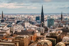 Top view Hamburg. View of the central part of Hamburg and the church of St. Nicholas from the bell tower of the main church of St. Michael Royalty Free Stock Photo