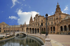 View of the central part of the Plaza of Spain in Seville Stock Photos
