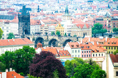 view at central part of prague aerial s historic centre czech republic Stock Images