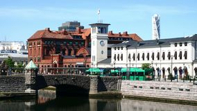 View of the Central Railway Station in Malmo. Sweden stock video