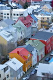 View of the central Reykjavik from Hallgrimskirkja church Stock Images