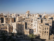 View of central sanaa  city old town skyline in yemen Royalty Free Stock Image