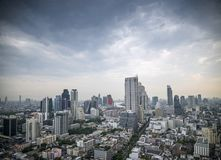 View of central silom in bangkok thailand by day Royalty Free Stock Photos