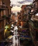 View from the central square of Manarola after an evening rain. royalty free stock photos
