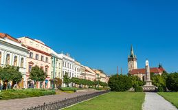 View of the central square in Presov, Slovakia Royalty Free Stock Photo