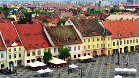 View of the central square of Sibiu, Romania. SIBIU, ROMANIA - MAY 4: Top view of the main square of Sibiu old town on May 4, 2016. Sibiu is the city located in Royalty Free Stock Photography