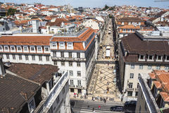 View on central street of Lisbon from above Royalty Free Stock Photography