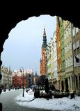 View of central street in town of Gdansk in winter time Royalty Free Stock Image