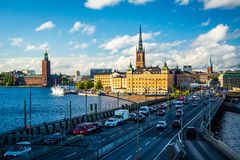 View of Centralbron and Galma Stan from Slussen, in Södermalm, Royalty Free Stock Image