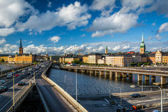 View of Centralbron and Galma Stan from Slussen, in Södermalm, Stock Photos