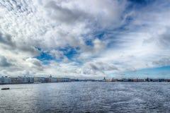 View  centre  St. Petersburg  Neva river left Bank panorama Pala Stock Photography
