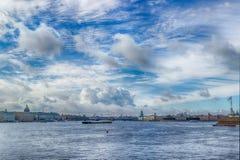 View  centre  St. Petersburg  Neva river left Bank panorama Pala Royalty Free Stock Photo