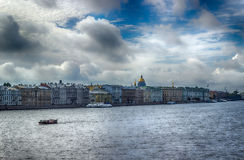 View  centre  St. Petersburg  Neva river left bank panorama Stock Images