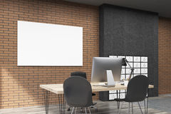 View of CEO office with filing cabinet in big city. View of office with filing cabinet and horizontal poster. CEO desk is standing near brick wall. 3d rendering Royalty Free Stock Image