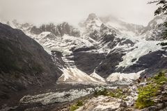 View of Cerro Paine Grande from Valle del Frances French Valle stock photography