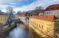 View of Certovka channel in Prague from Charles bridge, Czechia. Royalty Free Stock Image