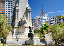 View of the Cervantes monument on the Square of Spain (Plaza de Stock Photos