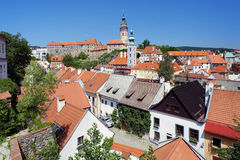 View of Cesky Krumlov, Castle and St. Jost Church Royalty Free Stock Images