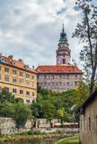 View of Cesky Krumlov castle tower Stock Images