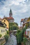 View of Cesky Krumlov castle tower Royalty Free Stock Image