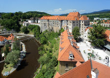 View on Cesky Krumlov Castle and Vltava river Stock Photography