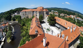 View on Cesky Krumlov Castle and Vltava river Royalty Free Stock Images